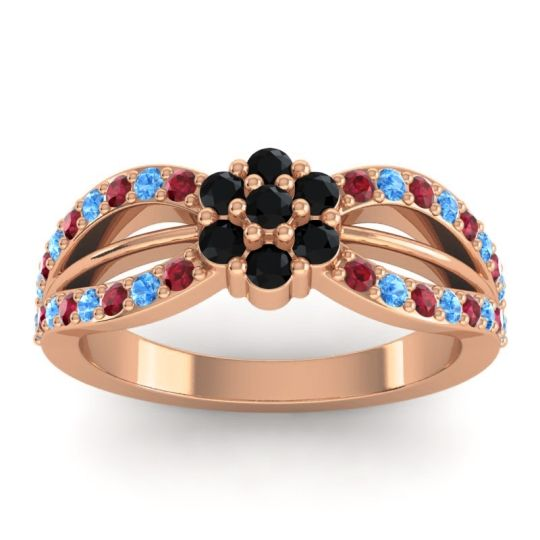 Simple Floral Pave Kalikda Black Onyx Ring with Swiss Blue Topaz and Ruby in 18K Rose Gold