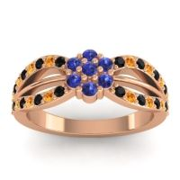 Simple Floral Pave Kalikda Blue Sapphire Ring with Citrine and Black Onyx in 14K Rose Gold