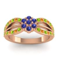 Simple Floral Pave Kalikda Blue Sapphire Ring with Citrine and Peridot in 18K Rose Gold