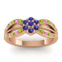 Simple Floral Pave Kalikda Blue Sapphire Ring with Pink Tourmaline and Peridot in 14K Rose Gold