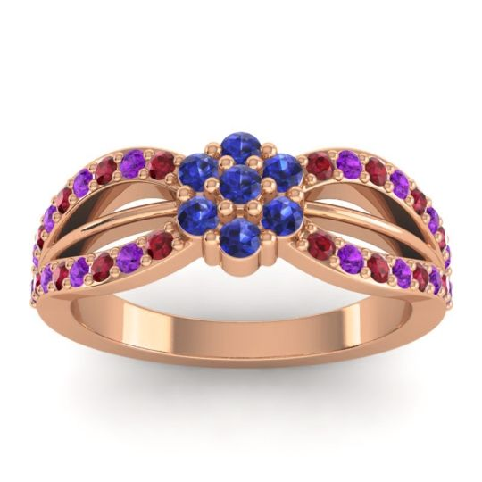Simple Floral Pave Kalikda Blue Sapphire Ring with Amethyst and Ruby in 18K Rose Gold