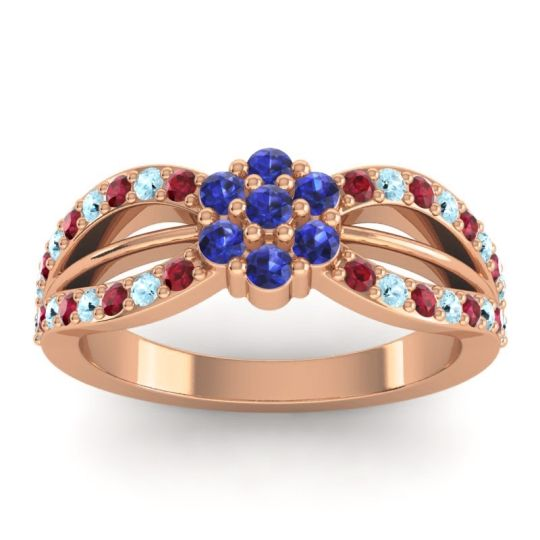 Simple Floral Pave Kalikda Blue Sapphire Ring with Aquamarine and Ruby in 14K Rose Gold