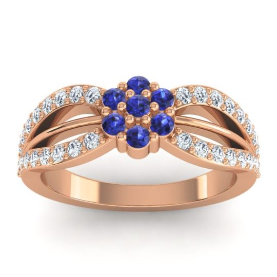 Simple Floral Pave Kalikda Blue Sapphire Ring with Diamond in 18K Rose Gold