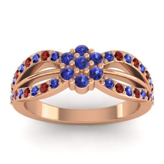 Simple Floral Pave Kalikda Blue Sapphire Ring with Garnet in 14K Rose Gold