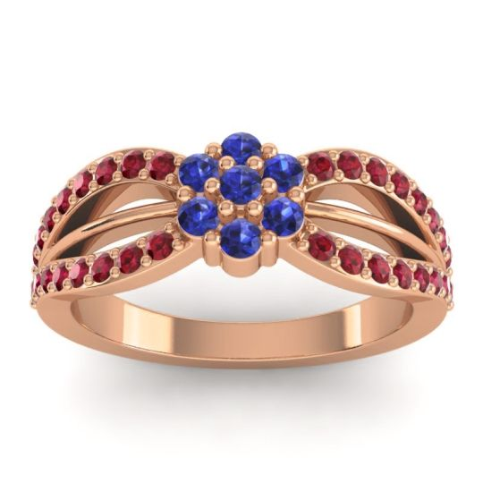 Simple Floral Pave Kalikda Blue Sapphire Ring with Ruby in 14K Rose Gold
