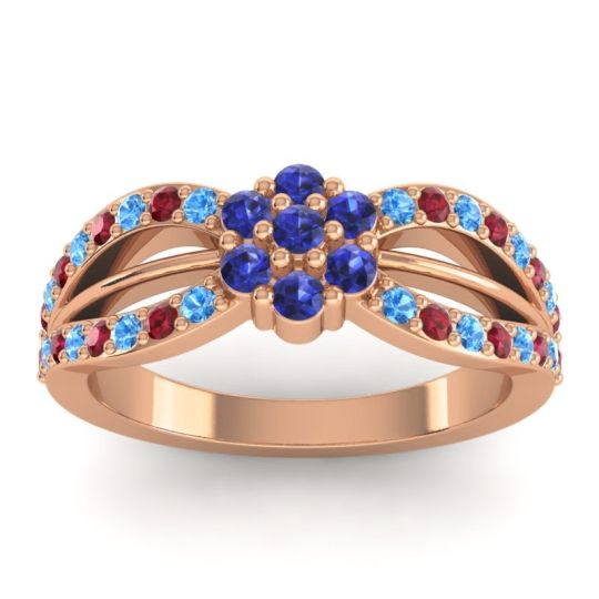 Simple Floral Pave Kalikda Blue Sapphire Ring with Ruby and Swiss Blue Topaz in 14K Rose Gold