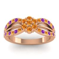 Simple Floral Pave Kalikda Citrine Ring with Amethyst in 18K Rose Gold