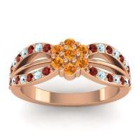 Simple Floral Pave Kalikda Citrine Ring with Aquamarine and Garnet in 18K Rose Gold