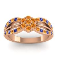 Simple Floral Pave Kalikda Citrine Ring with Blue Sapphire in 14K Rose Gold
