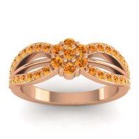 Simple Floral Pave Kalikda Citrine Ring in 14K Rose Gold