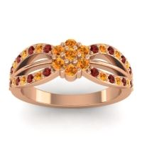 Simple Floral Pave Kalikda Citrine Ring with Garnet in 18K Rose Gold