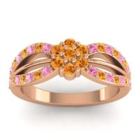 Simple Floral Pave Kalikda Citrine Ring with Pink Tourmaline in 14K Rose Gold