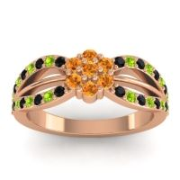 Simple Floral Pave Kalikda Citrine Ring with Peridot and Black Onyx in 18K Rose Gold