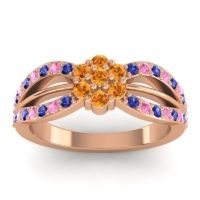 Simple Floral Pave Kalikda Citrine Ring with Pink Tourmaline and Blue Sapphire in 14K Rose Gold