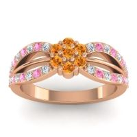 Simple Floral Pave Kalikda Citrine Ring with Pink Tourmaline and Diamond in 14K Rose Gold