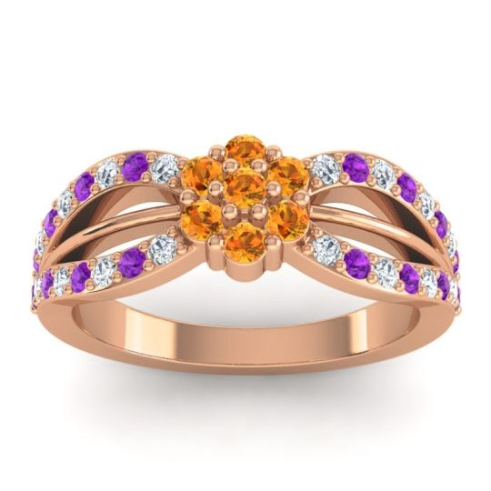 Simple Floral Pave Kalikda Citrine Ring with Amethyst and Diamond in 14K Rose Gold