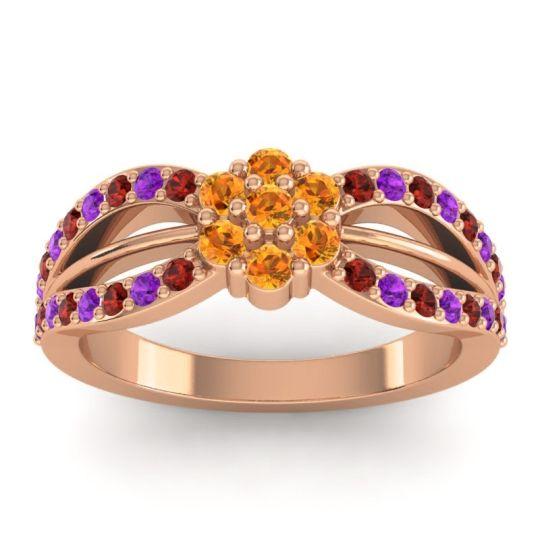 Simple Floral Pave Kalikda Citrine Ring with Amethyst and Garnet in 14K Rose Gold