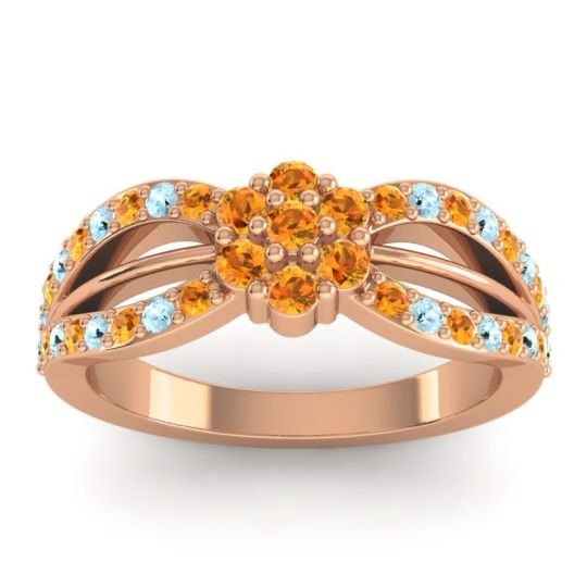 Simple Floral Pave Kalikda Citrine Ring with Aquamarine in 18K Rose Gold