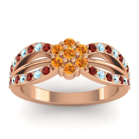 Simple Floral Pave Kalikda Citrine Ring with Aquamarine and Garnet in 14K Rose Gold