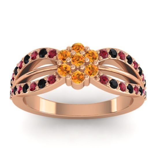 Simple Floral Pave Kalikda Citrine Ring with Black Onyx and Ruby in 14K Rose Gold