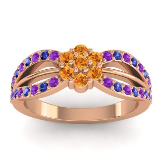 Simple Floral Pave Kalikda Citrine Ring with Blue Sapphire and Amethyst in 18K Rose Gold