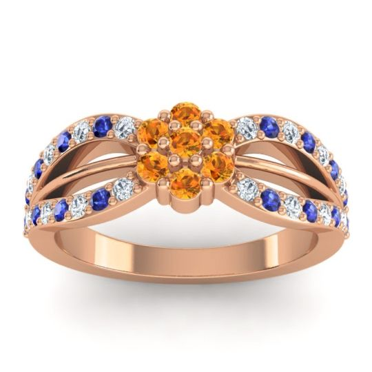Simple Floral Pave Kalikda Citrine Ring with Blue Sapphire and Diamond in 18K Rose Gold