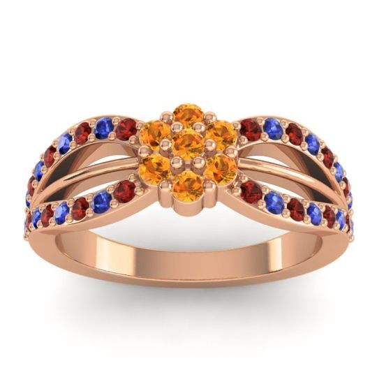 Simple Floral Pave Kalikda Citrine Ring with Blue Sapphire and Garnet in 18K Rose Gold