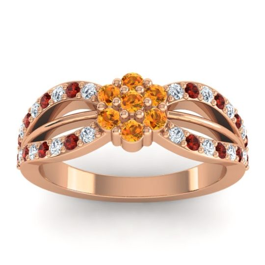 Simple Floral Pave Kalikda Citrine Ring with Garnet and Diamond in 14K Rose Gold