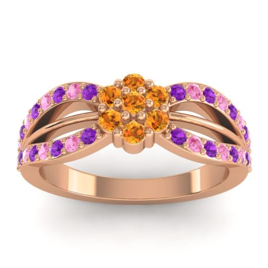 Simple Floral Pave Kalikda Citrine Ring with Pink Tourmaline and Amethyst in 14K Rose Gold