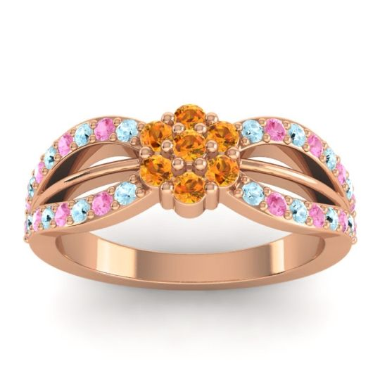 Simple Floral Pave Kalikda Citrine Ring with Pink Tourmaline and Aquamarine in 18K Rose Gold