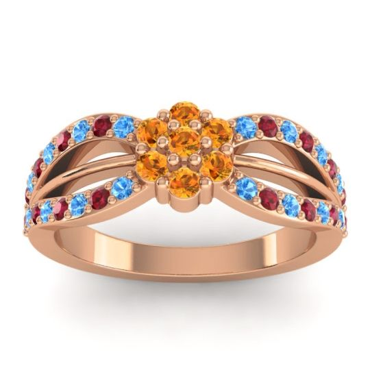 Simple Floral Pave Kalikda Citrine Ring with Ruby and Swiss Blue Topaz in 18K Rose Gold