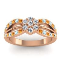 Simple Floral Pave Kalikda Diamond Ring with Aquamarine and Citrine in 18K Rose Gold