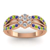 Simple Floral Pave Kalikda Diamond Ring with Peridot and Blue Sapphire in 14K Rose Gold