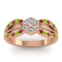 Simple Floral Pave Kalikda Diamond Ring with Peridot and Ruby in 14K Rose Gold