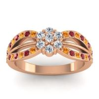 Simple Floral Pave Kalikda Diamond Ring with Ruby and Citrine in 14K Rose Gold