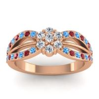 Simple Floral Pave Kalikda Diamond Ring with Ruby and Swiss Blue Topaz in 18K Rose Gold