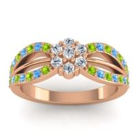 Simple Floral Pave Kalikda Diamond Ring with Swiss Blue Topaz and Peridot in 14K Rose Gold