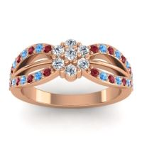 Simple Floral Pave Kalikda Diamond Ring with Swiss Blue Topaz and Ruby in 18K Rose Gold