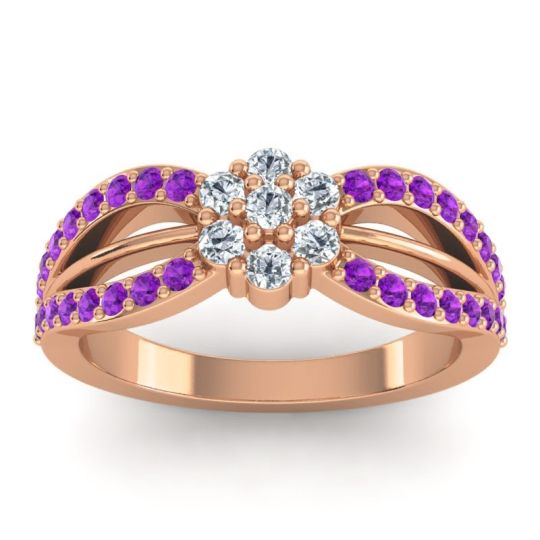 Simple Floral Pave Kalikda Diamond Ring with Amethyst in 14K Rose Gold