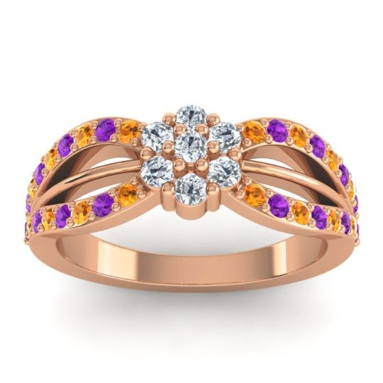 Simple Floral Pave Kalikda Diamond Ring with Amethyst and Citrine in 14K Rose Gold