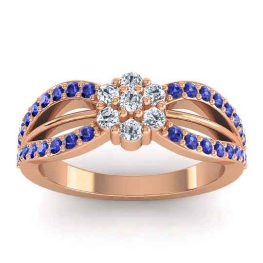 Simple Floral Pave Kalikda Diamond Ring with Blue Sapphire in 14K Rose Gold