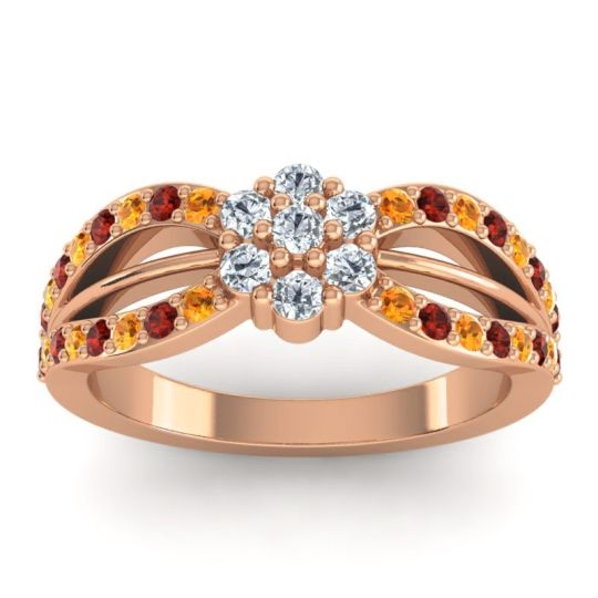 Simple Floral Pave Kalikda Diamond Ring with Garnet and Citrine in 14K Rose Gold