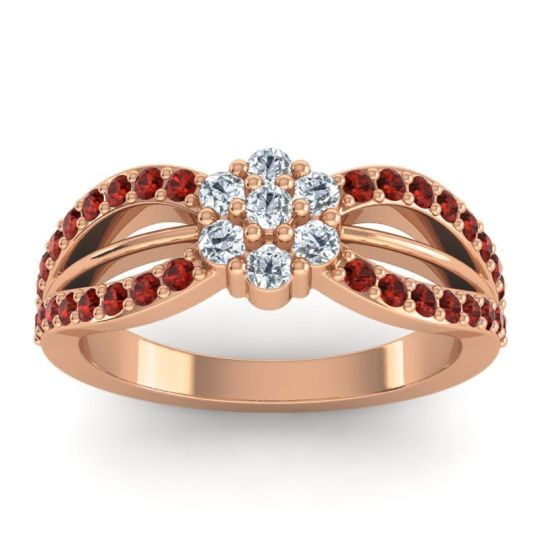 Simple Floral Pave Kalikda Diamond Ring with Garnet in 18K Rose Gold