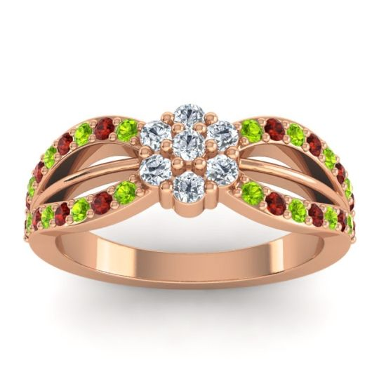 Simple Floral Pave Kalikda Diamond Ring with Garnet and Peridot in 14K Rose Gold