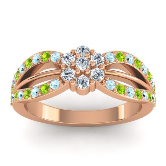 Simple Floral Pave Kalikda Diamond Ring with Peridot and Aquamarine in 18K Rose Gold