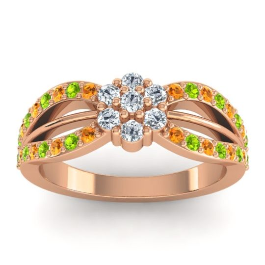Simple Floral Pave Kalikda Diamond Ring with Peridot and Citrine in 14K Rose Gold