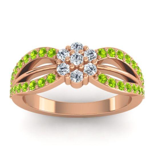 Simple Floral Pave Kalikda Diamond Ring with Peridot in 18K Rose Gold