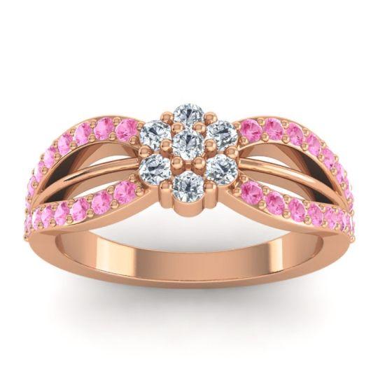 Simple Floral Pave Kalikda Diamond Ring with Pink Tourmaline in 14K Rose Gold