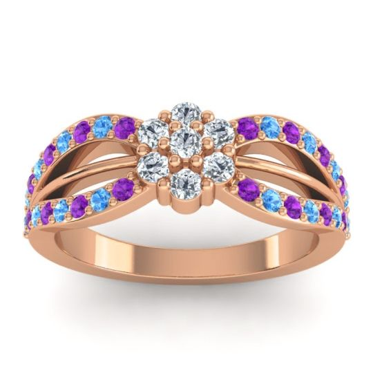 Simple Floral Pave Kalikda Diamond Ring with Swiss Blue Topaz and Amethyst in 14K Rose Gold