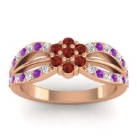 Simple Floral Pave Kalikda Garnet Ring with Amethyst and Diamond in 14K Rose Gold